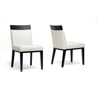 Clymene black wood and cream leather modern dining chairs set of 2