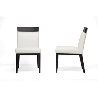 Clymene Black Wood and Cream Leather Modern Dining Chairs (Set of 2)
