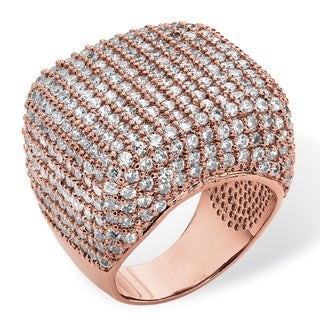 PalmBeach 6.76 TCW Round Cubic Zirconia Pave Dome Ring Rose Gold-Plated Glam CZ