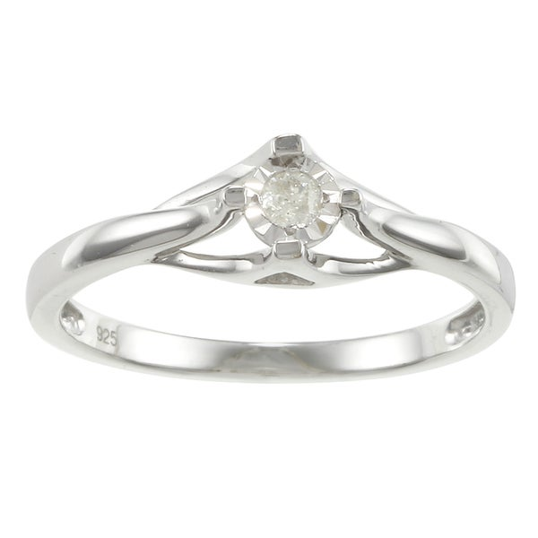Sterling Silver Round Diamond Accent Promise Ring