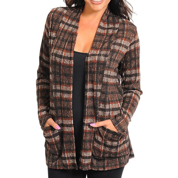 Stanzino Women's Brown Plus Size Cardigan