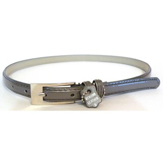 Women's Silver Leather Skinny Belt