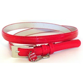 Women's Red Patent Leather Skinny Belt