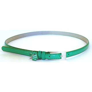Women's Green Patent Leather Skinny Belt