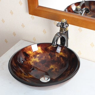 ELITE 1204 Tempered Glass Vessel Sink W. Unique Hand Painting Pattern