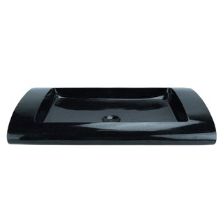 Italia Black Granite Shallow Rectangular Vessel Sink