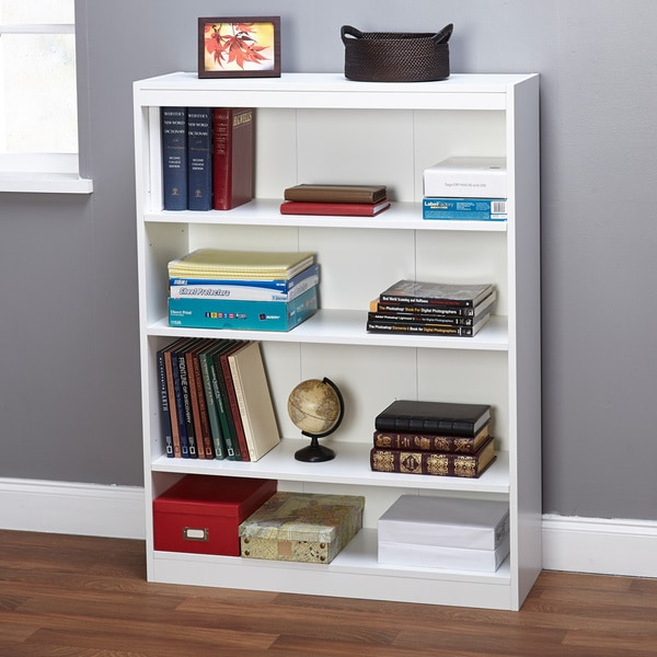 Simple Living White Four Tier Bookcase