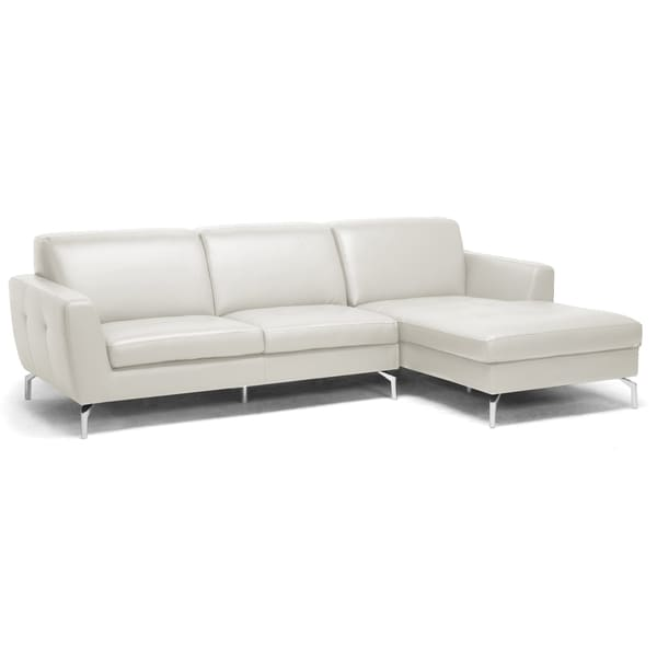 Donovan Cream Leather Modern Sectional Sofa