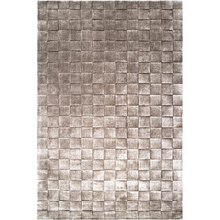 Hand-crafted Solid Casual Idalou Basket Weave Patterned Zealand Wool Rug