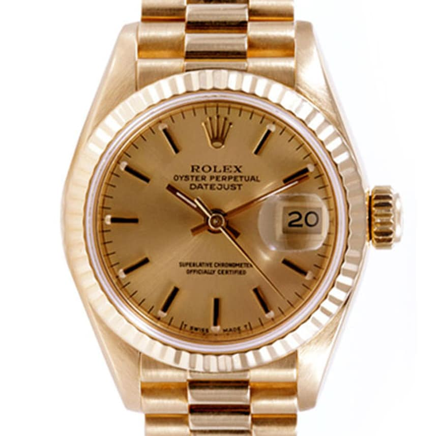 pre owned rolex midsize s 18k gold datejust