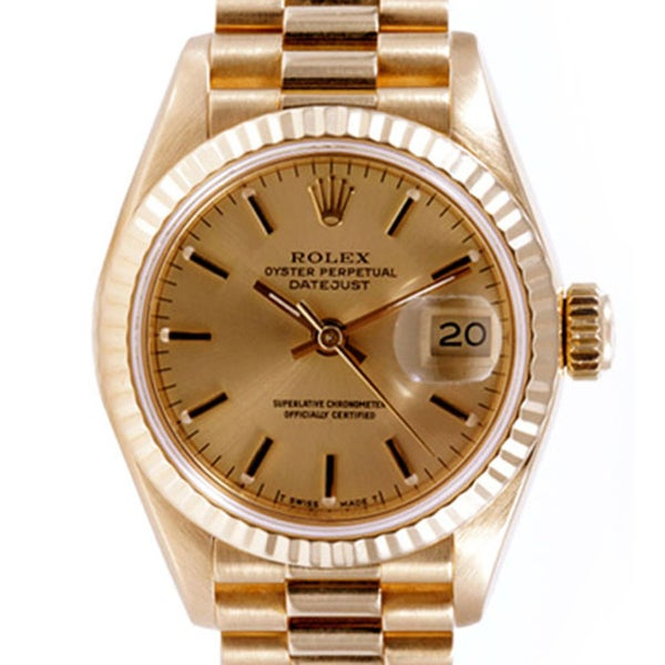 Pre-owned Rolex Midsize Women's 18k Gold Datejust Watch