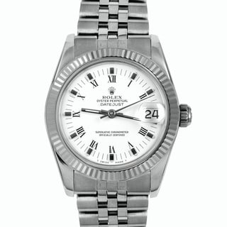 Pre-Owned Rolex Midsize Women's White-Dial Stainless-Steel Datejust Watch