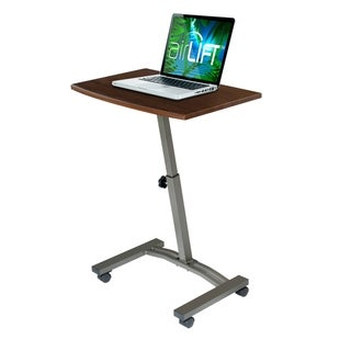 AIRLIFT Walnut/Black Mobile Laptop Computer Desk Cart With Adjustable Height Range 20.5 in to 33 in