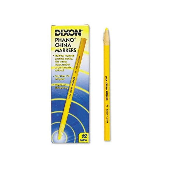Dixon Phano China Markers Yellow Grease Pencils (Set of 12)