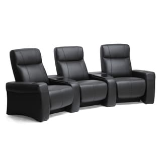 Spotlight Black Leather Home Theater 3-seater Recliners