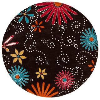 Hand-tufted Dayton Brown Floral Wool Rug (7'9 Round)