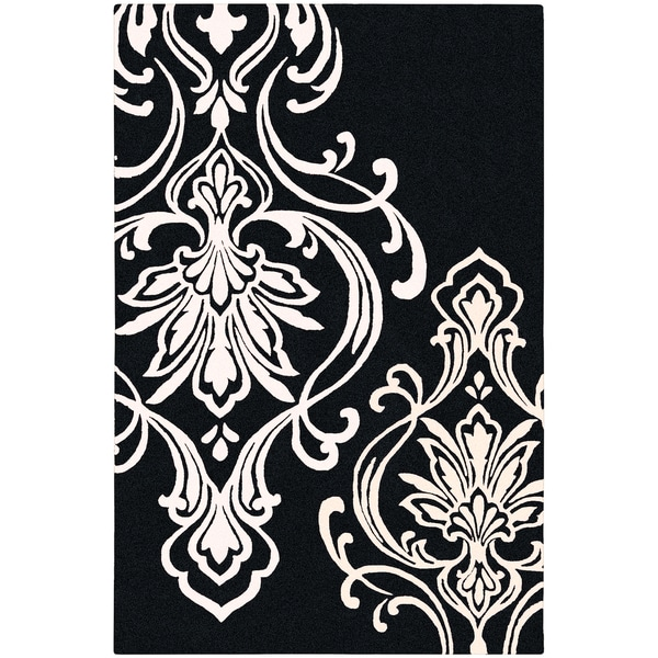 Candice Olson Hand-tufted Coward Black Damask Pattern Wool Rug (2' x 3')