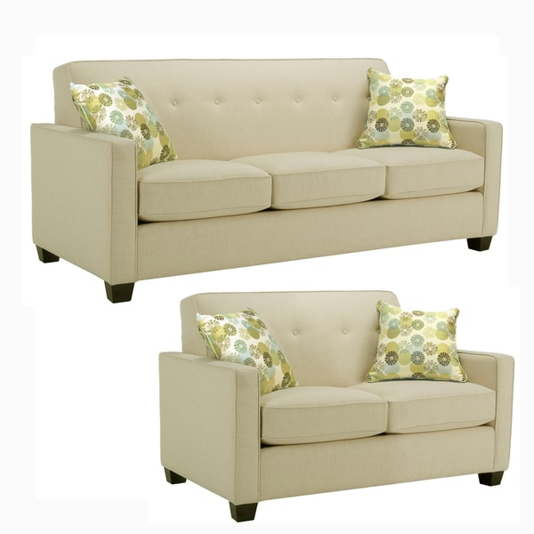 Laguna Cream Fabric Sofa and Loveseat