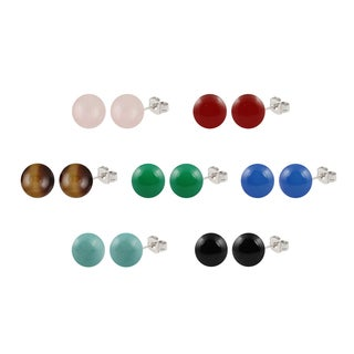 Sterling Silver Round Gemstone Cabochon Stud Earring Set