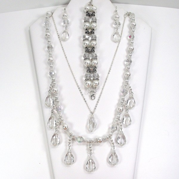 White Pearl and Clear Crystal Wedding Jewelry Set
