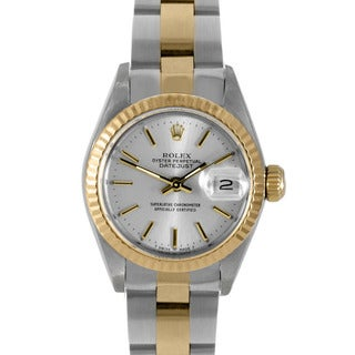 Pre-Owned Rolex Women's Two-Tone Datejust Watch with Silver Dial