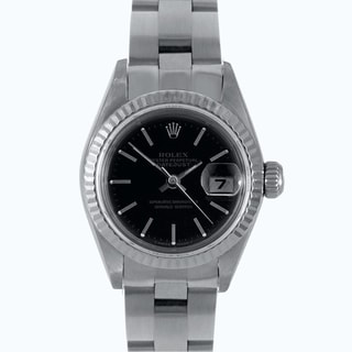 Pre-Owned Rolex Women's Black Dial Automatic Quickset Stainless Steel Datejust Watch