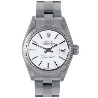 White Dial Pre-owned Rolex Women's Stainless Steel Datejust Watch