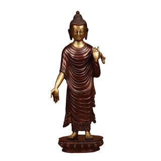 Buddha Walking to Nirvana Brass Figurine (India)