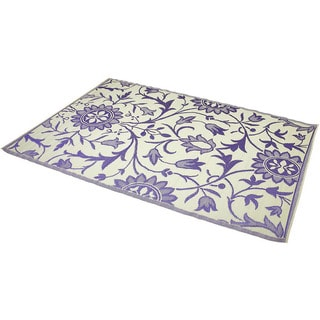 Indoor/Outdoor Purple/Ivory Flatweave Rug (6&#39; x 9&#39;) (India)