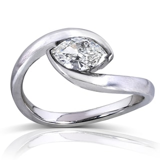 Annello 14k White Gold 3/4ct TDW Certified Marquise Diamond Ring (J, SI1)