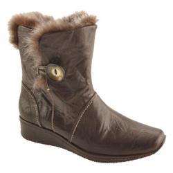Women's Antia Shoes Gina Mocha Veg Crunch Leather/Gross Grey Faux