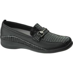 Women's Apex Essence Ornamented Slip On Black Alligator Textured Leather