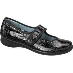 Women's Apex Lucy Button Black Patent Croc