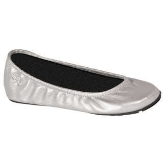 Women's Butterfly Twists Foldable PU Ballet Pump Silver PU