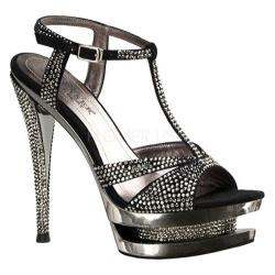 Women's Pleaser Day & Night Fascinate 650 Black Suede/Pewter Chrome