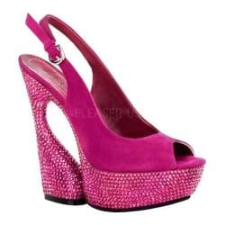 Women's Pleaser Day & Night Swan 654DM Fuchsia Suede