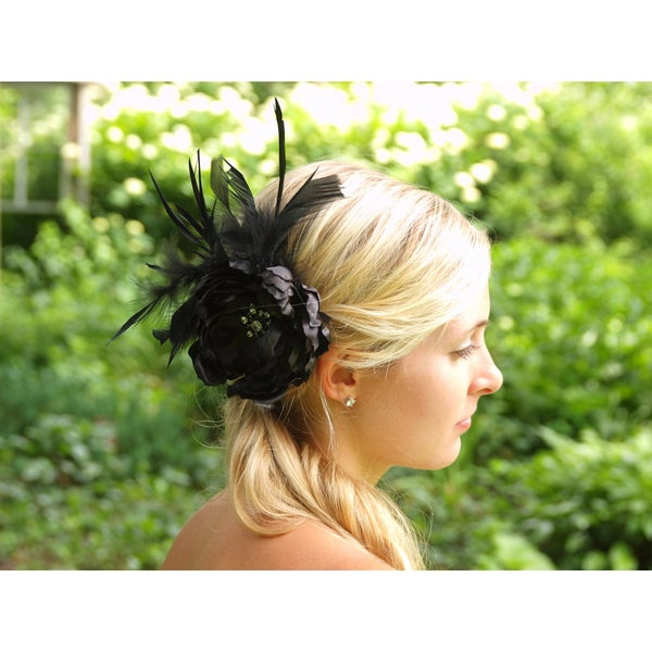CarolineAlexander Black Feather Flower Fascinator