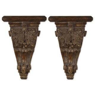 Mora Chestnut Brown Embellished Shelves (Set of 2)