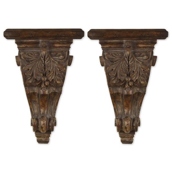 Uttermost Mora Chestnut Brown Embellished Shelves (Set of 2)