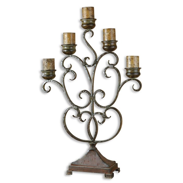 Uttermost Juliana Dark Red Rust/ Olive Bronze Metal Candelabra
