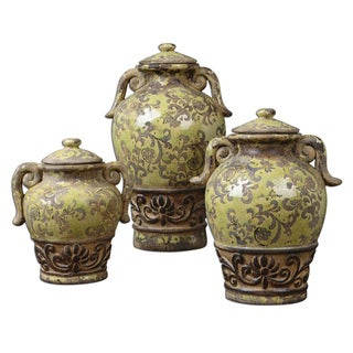 Gian Green Crackled Containers (Set of 3)