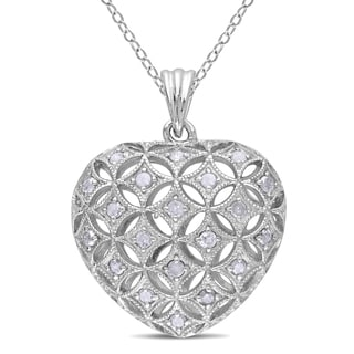 Miadora Sterling Silver 1/2ct TDW Diamond Heart Necklace (I-J, I2-I3)