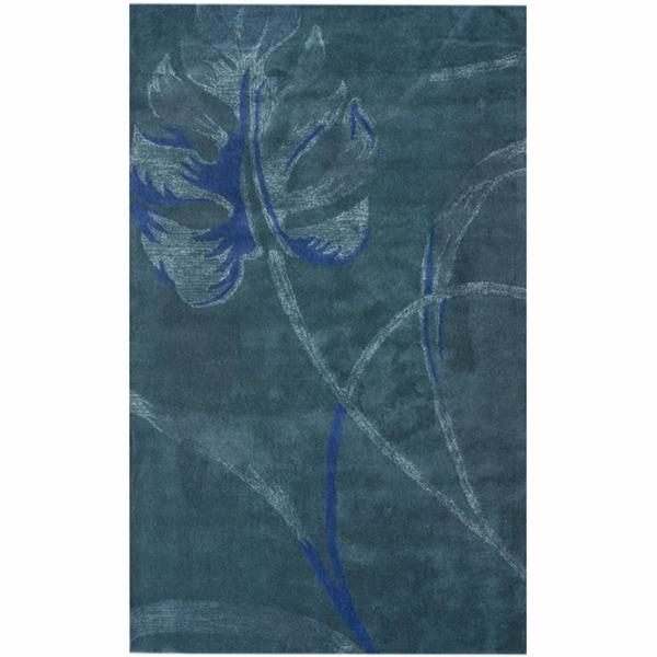 nuLOOM Handmade Blue Leaf Wool Rug