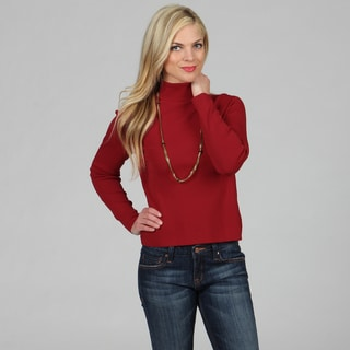 Women's Madison Park Ruby Red 'Turtle Dove' Turtleneck