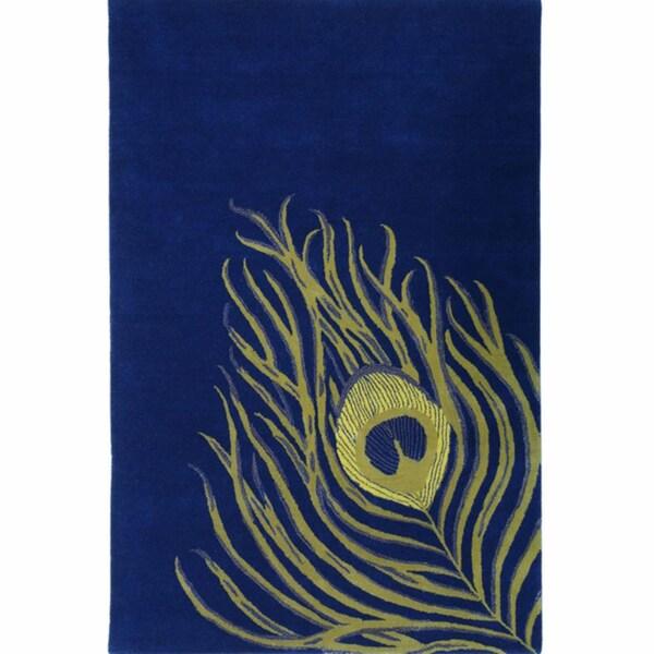 nuLOOM Handmade Blue Peacock Wool Rug