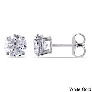 Miadora 14k Gold 2ct TDW Certified Diamond Solitaire Stud Earrings (G-H, I1-I2)