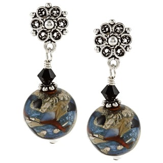 Charming Life Sterling Silver 'Winter's Night' Art Glass Post Earrings