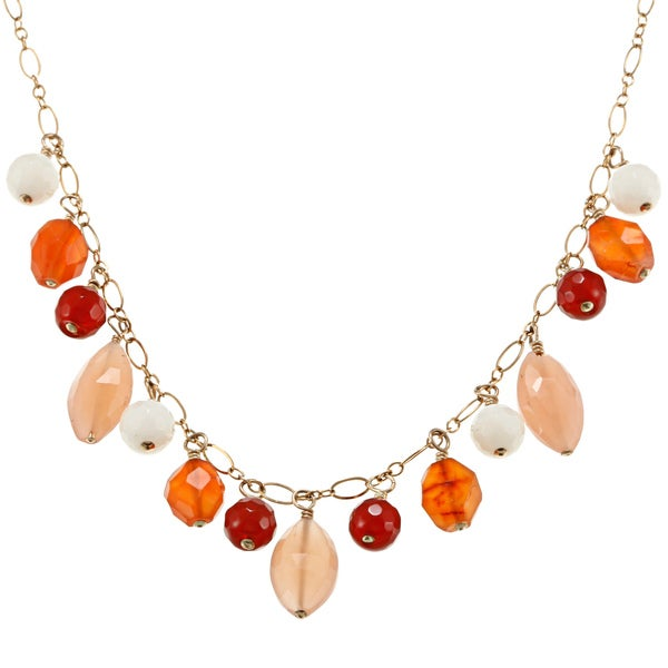 Charming Life 14k Goldfill Carnelian Fringe Necklace