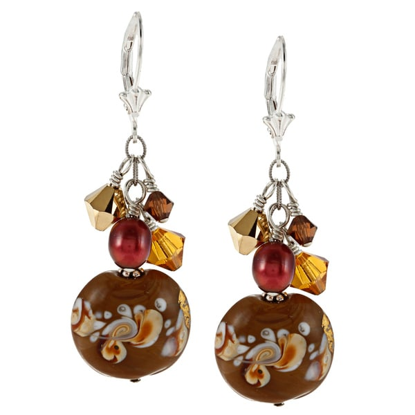 Charming Life Sterling Silver Brown FW Pearl, Glass and Crystal Cluster Earrings (6 mm)
