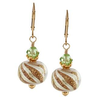 Charming Life 14k Goldfill Art Glass and Peridot Crystal Earrings